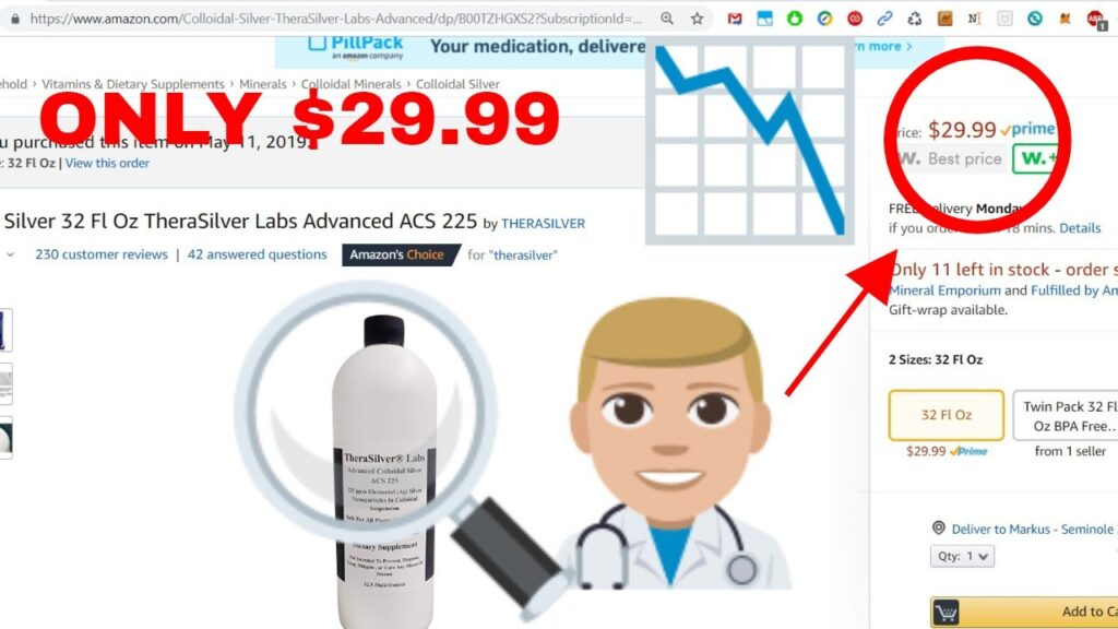 Best True Colloidal Silver 32 Fl Oz TheraSilver Labs Advanced ACS 225 Huge Price Drop To $24.99